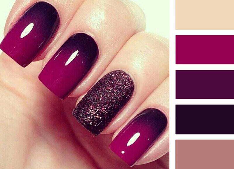 Маникюр на короткие ногти сливового цвета