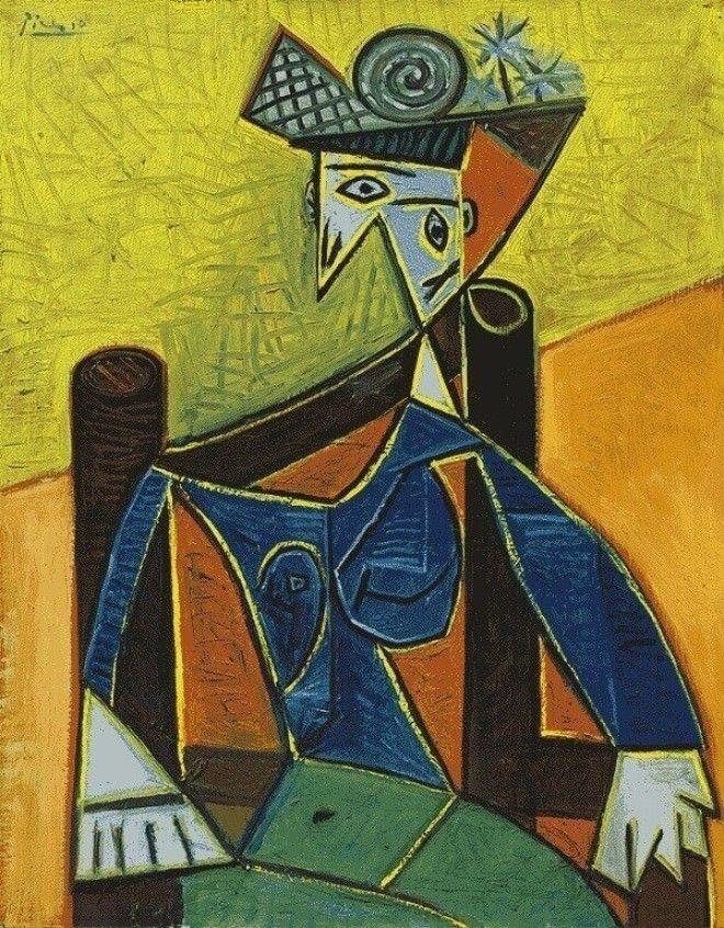 картина пикассо Женщина сидящая в кресле