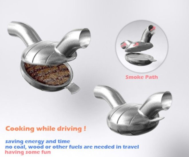 5 Гриль изпод выхлопной трубы Готовишь пока едешь домой Ох ну и полезная еда на бензинчике изобретения кому это нужно устройства для мужчин