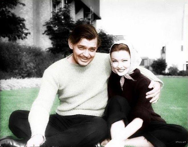 Кларк Гейбл и Джин Тирни голливуд колоризированные фото ностальгия