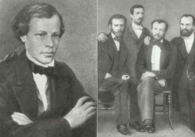 Слева Д И Менделееввыпускник Главного педагогического института 1855 Справа Менделеев второй справа с друзьями по Гейдельбергскому университету 18591860 Фото ownlibru