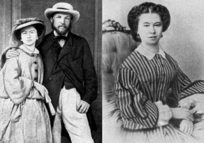 Слева Д Менделеев с женой Феозвой Никитичной 1862 Справа Феозва Лещева Фото ownlibru и nnmme