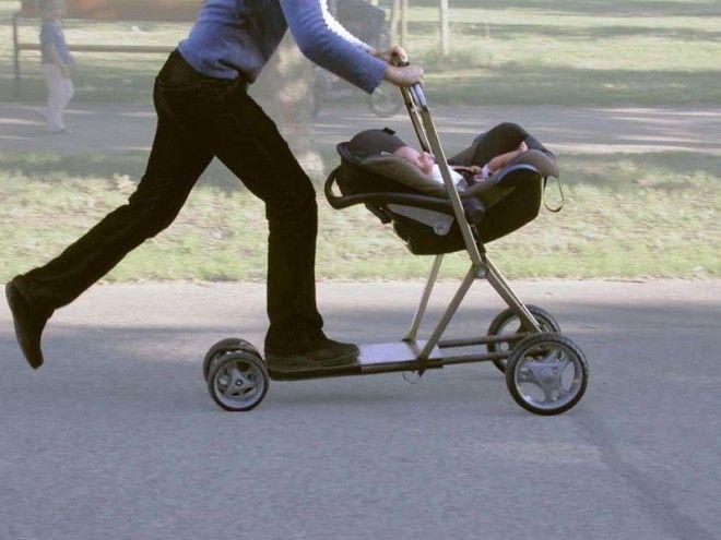 7 Детская коляскасамокат безумные вещи изобретатели изобретения ненужные вещи