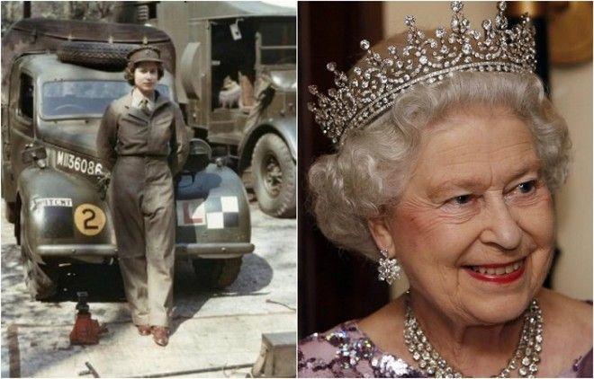 Царствующая королева Великобритании в 1945 году вступила в женский отряд самообороны и прошла подготовку как механикводитель санитарного автомобиля получив воинское звание лейтенанта