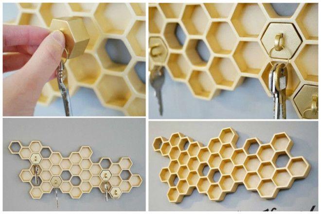 Спасибо пчелкам за эту ключницу из сот дизайн дом животные идеи