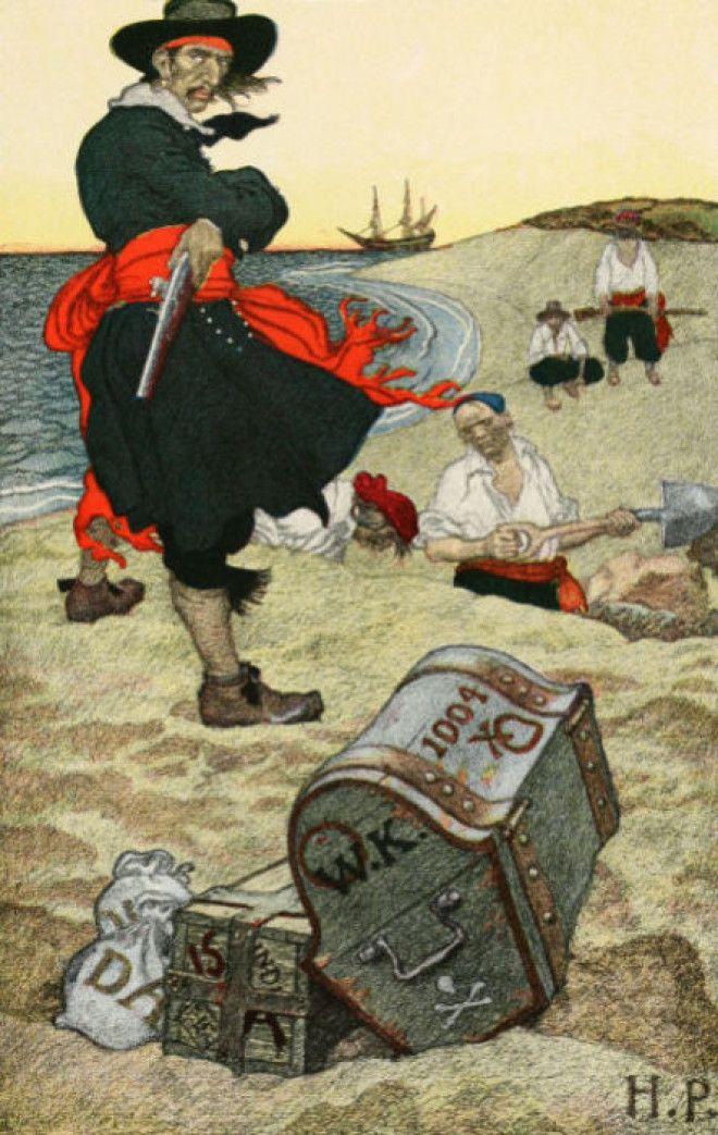 Уильям Кидд прячет сокровища Иллюстрация из Книги Говарда Пайла о пиратах 1903 год Фото cecildailycom