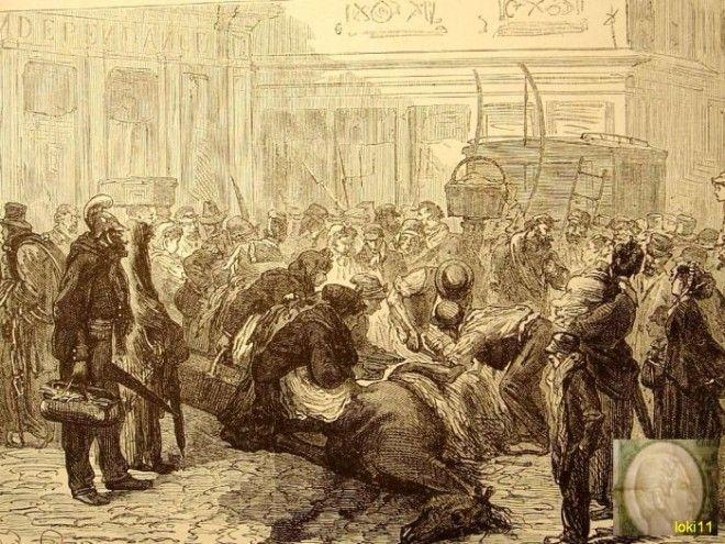 Парижане разделывают павшую лошадь прямо на дороге 1870 год Фото commonswikimediaorg