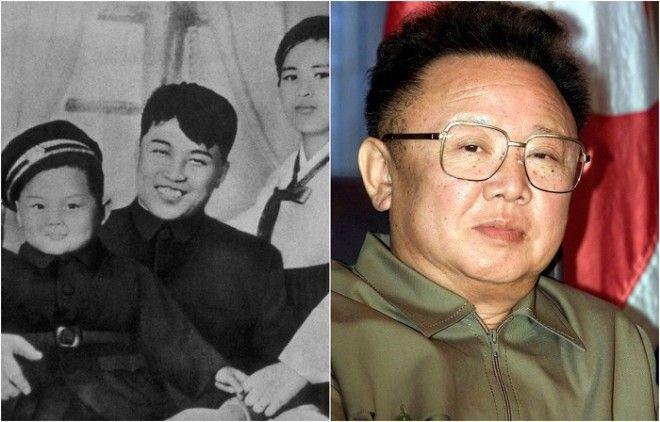Ким на руках у своих родителей Ким Ир Сена и Ким Чен Сук 1945 год