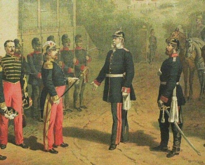 Французский император Наполеон III сдаётся в плен Бисмарку после битвы при Седане 1870 год Фото ruwikipediaorg