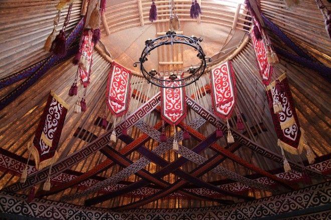 Шанырак деревянный обод котоый образует потолок Фото kzallbiz