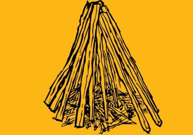 Костер шалашиком Найдите палку толщиной с ваше запястье и длиной в руку Желательно чтобы она раздваивалась на конце это необходимо для лучшей устойчивости Вбейте палку в землю в центре вашего костра Обложите центральную палочку трутом если есть газеты сверните их мячиком и тоже разложите вокруг центральной палочки Начните строить стены шалаша укладывать поленья необходимо под углом к основанию костра так чтобы они опирались на центральную палочку или друг на друга Подожгите трут и понемногу добавляйте растопку и дрова по мере того как костер разгорается