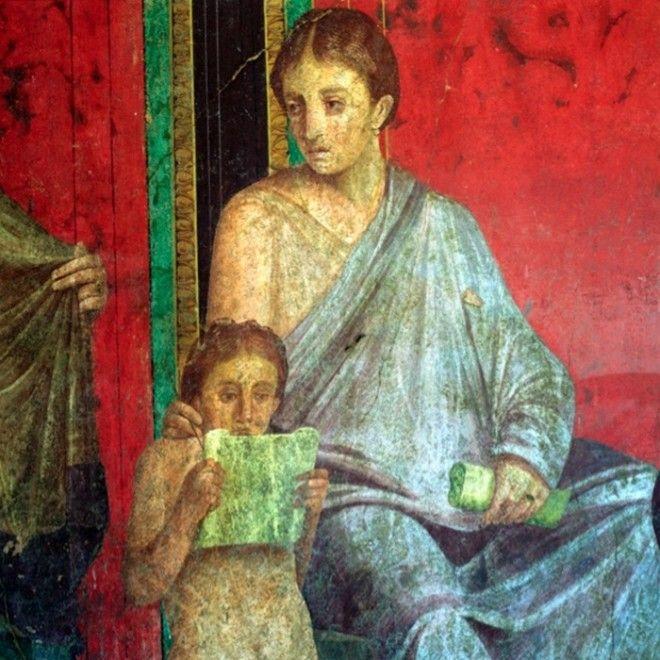Часть фрески с изображением читающей юной девушки I век до нашей эры