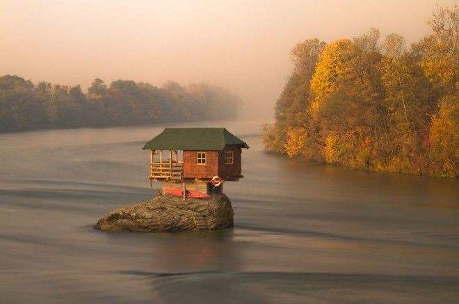 House In The Middle Of Drina River Near The Town Of Bajina Basta Serbia