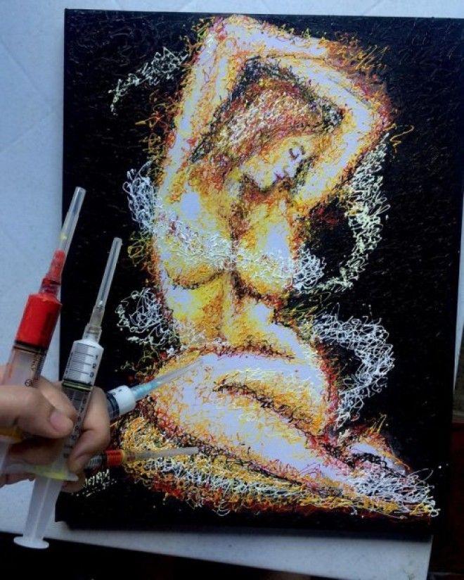 Медсестра рисует оригинальные картины шприцами
