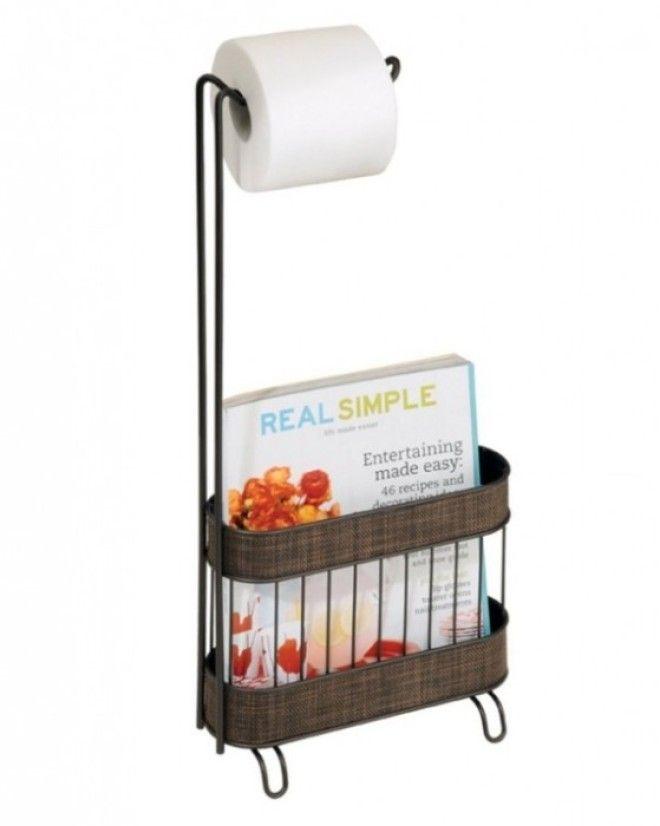 Держатель для рулона туалетной бумаги со специальной корзиной в которой можно хранить журналы