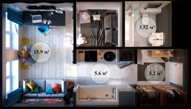 Делить площадь квартирыстудии на комнаты можно только после того как будет готов подробный план помещения