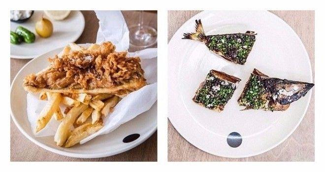 Слева черный конгрио креветочная рыба в кляре картофелем фри и приправами Справа тосты с голубой макрелью в кислосладком соусе австралия блюда еда еда в Австралии лучшие ресторан рестораны
