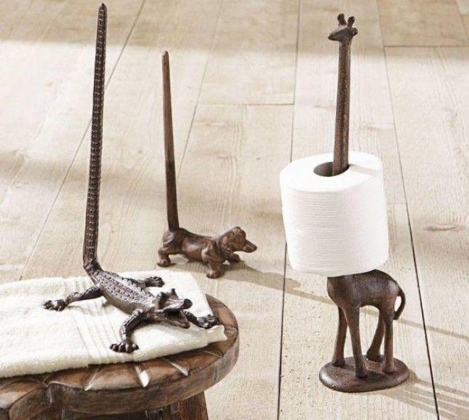 Животные с различными вытянутыми частями тела станут отличными держателями для рулонов туалетной бумаги