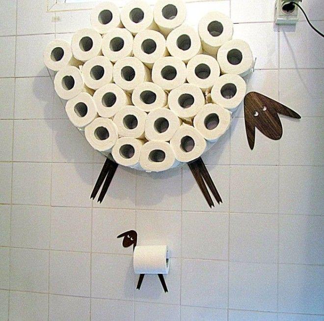 Держатель и своеобразная полка для хранения туалетной бумаги в виде хорошеньких овечек