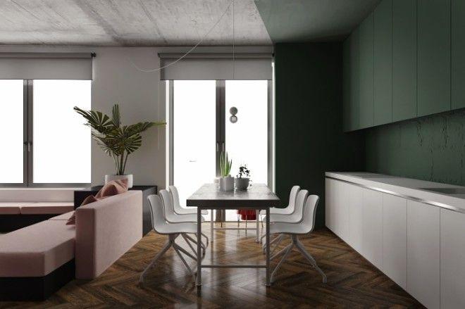 А еще диван может послужить границей между гостиной и кухней с обеденной зоной