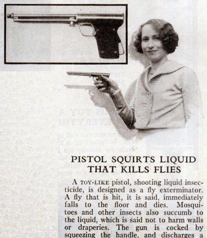 Не пугайтесь, это всего лишь мухобойка! Пистолет стреляет жидкостью, сбивающей насекомых на лету бред изобретателя, ненужное, оригинально, смешно, странные вещи, странные люди, товар, юмор