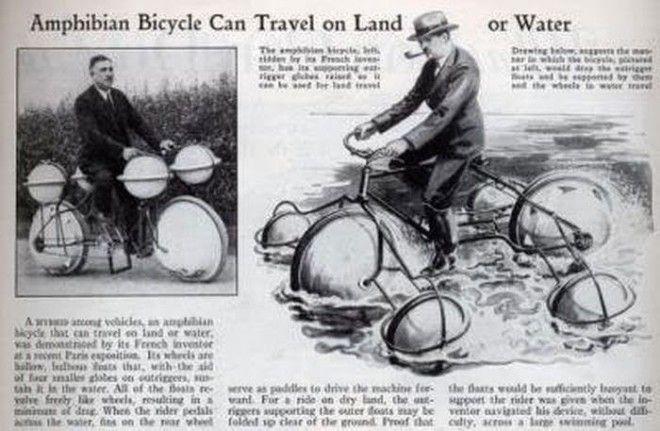 На велосипеде-амфибии можно ехать и по земле, и по воде. Пока колесо не лопнет бред изобретателя, ненужное, оригинально, смешно, странные вещи, странные люди, товар, юмор