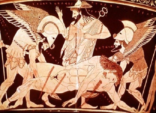 Бог смерти Танатас Античная вазопись