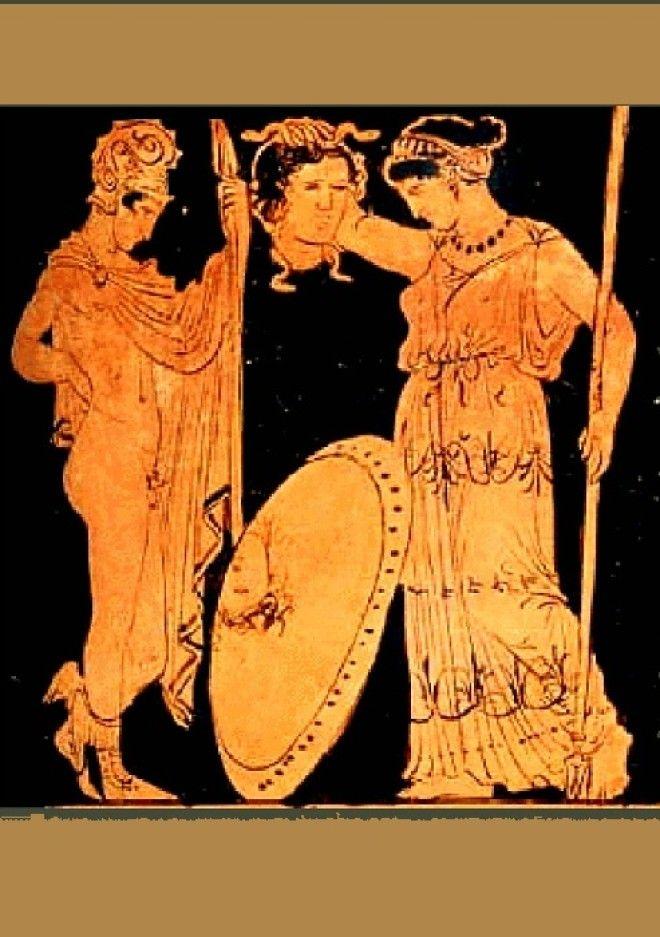 Античная ваза Персей передает Афине голову Медузы горгоны