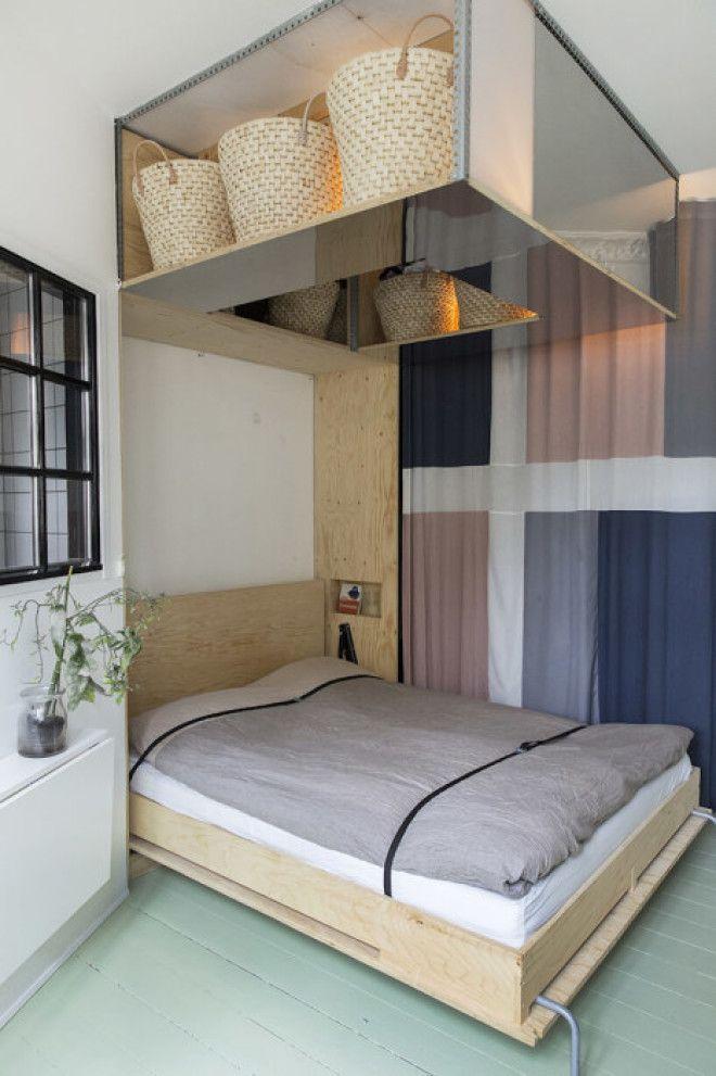 Потайное место под потолком поможет сэкономить пространство в спальной комнате