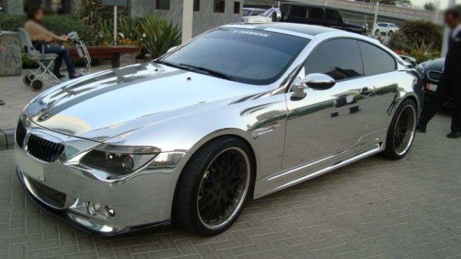 Спортивное купе BMW от тюнингателье Hamann в хромовом виниле Фото garagestyleru