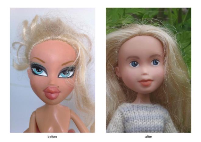 стереть макияж с кукол смыл макияж с куклы удаление макияжа с кукол