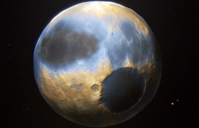 Планета Плутон небо цвета голубой электрик