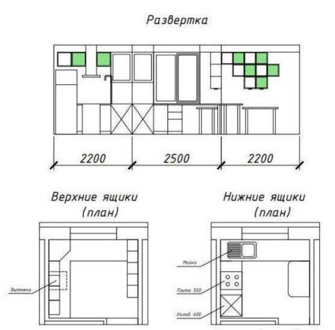 Чертеж мебели для углового гарнитура