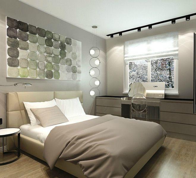 Небольшая спальня в серых тонах