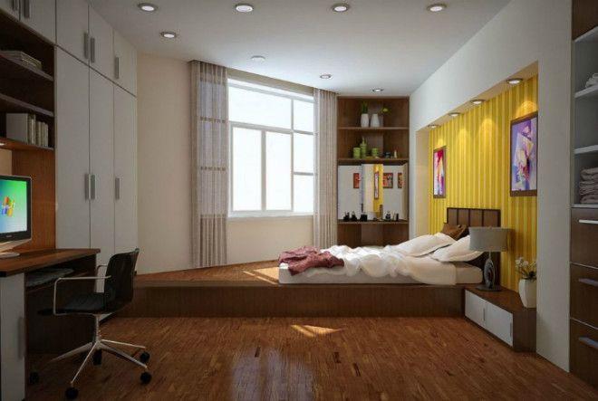 Спальная зона в нестандартной однушке