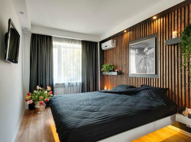 Стильная спальня с деревянной акцентной стеной