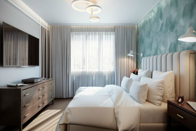 Элегантная спальня с акцентной стеной