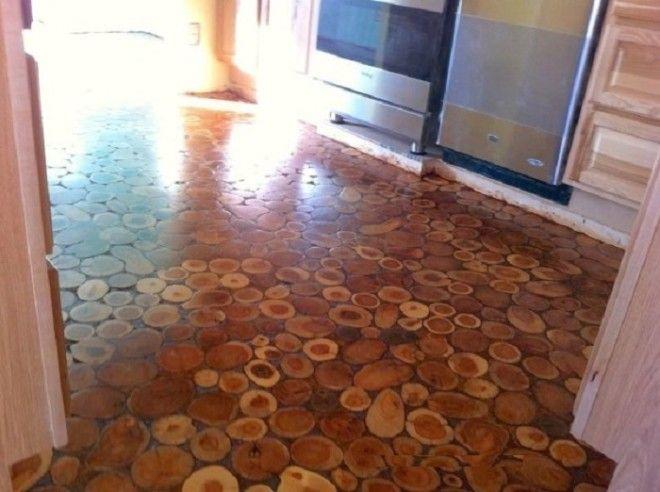 Пол из деревянных колец