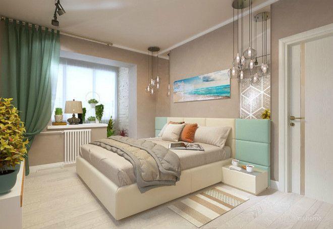 Спокойная спальня с бежевыми стенами