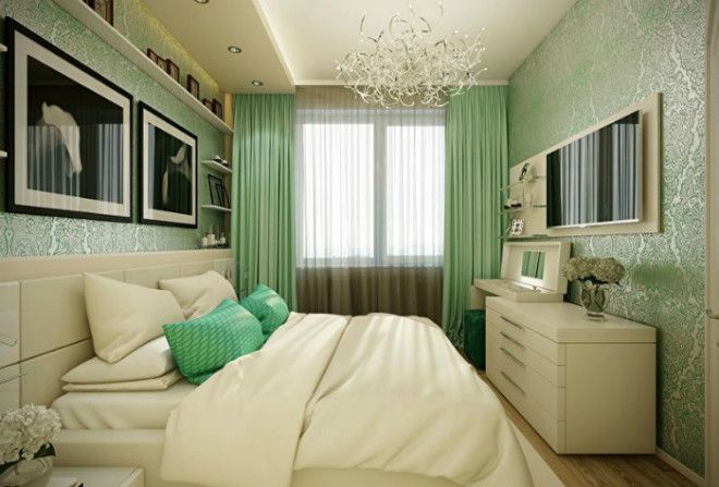 Спальня в светлозеленом цвете