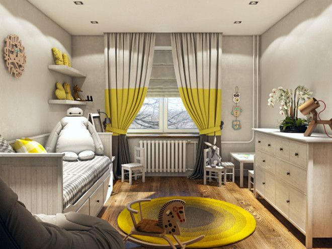 Солнечный дизайн детской спальни