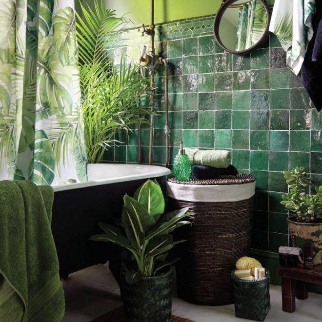 Ванная комната с зелёными акцентами