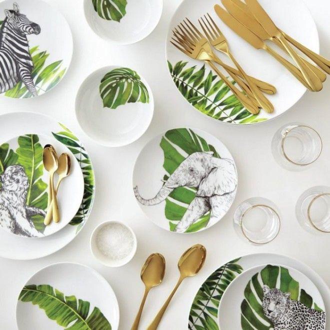 Красивая и модная посуда в тропическом стиле