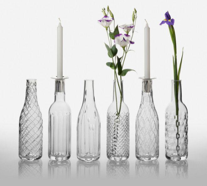 Стоит обратить внимание на стеклянные бутылки которые остались после застолья Некоторые из них имеют очень интересную форму Так что не спешите их выбрасывать Они ещё долгое время послужат в качестве цветочных ваз