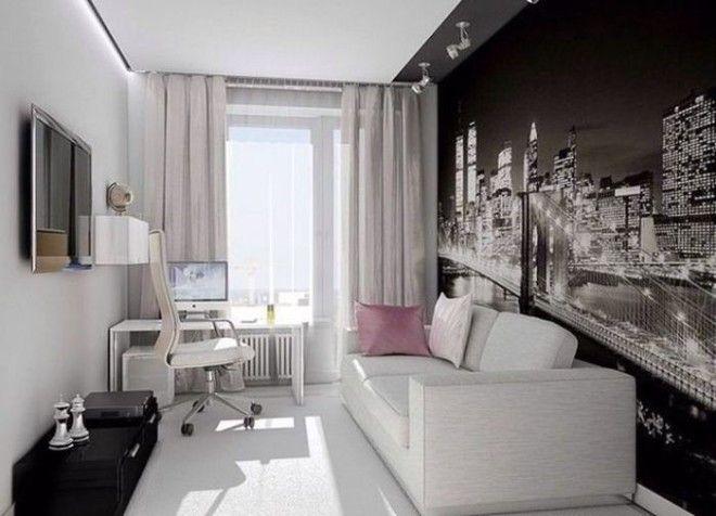 Светлые стены и контрастные фотообои с подсветкой хорошее решение для узкой комнаты