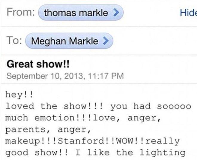 Скриншот сообщения от отца в котором он говорит что гордится шоу Меган