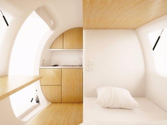 Стоимость Ecocapsule составляет примерно от 87 000 долларов Миниатюрный дом будут поставлять с письменным столом кроватью шкафами и ванной комнатой с душем и туалетом