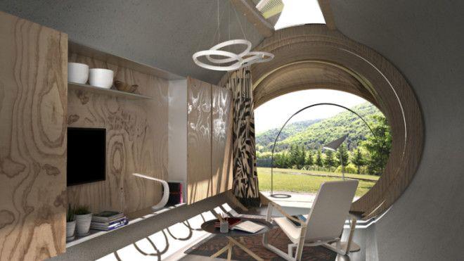 Эта постройка представляет собой однокомнатную капсулу которую можно десантировать в любой уголок Земли даже самый дикий Например на скалистый берег или в лесистые горы