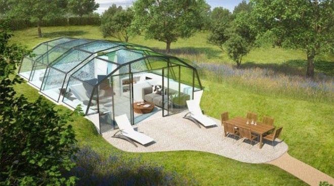 Этот стеклянный дом запросто можно установить в любом месте А благодаря дневному свету здесь всегда будет царить особая атмосфера спокойствия и умиротворения