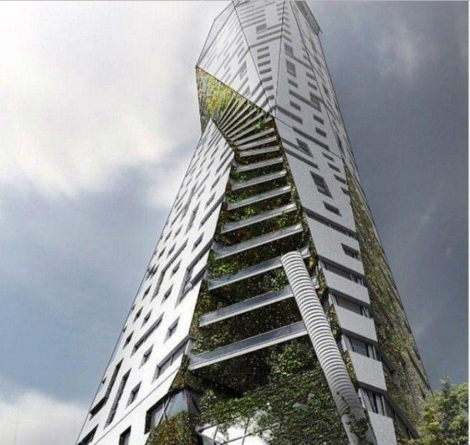 Проект Eco Tower рассчитан на то чтобы соединить городской стиль и природу в жилом комплексе